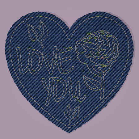love declarations: A heart shape made of blue denim jeans texture with a fancywork i love you. reealistic vintage and retro material. perfect for valentines day and love declarations. Illustration
