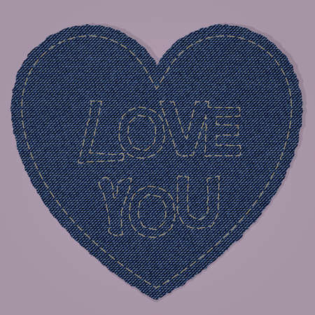 fancywork: A heart shape made of blue denim jeans texture with a fancywork i love you. reealistic vintage and retro material. perfect for valentines day and love declarations. Illustration