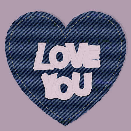 love declarations: A heart shape made of blue denim jeans texture with a patchwork i love you. reealistic vintage and retro material. perfect for valentines day and love declarations.