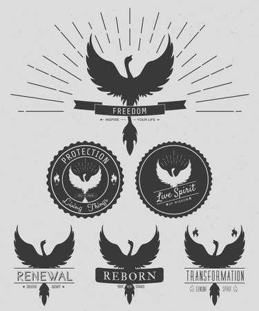phoenix: conjunto de vectores de logotipos símbolo Phoenix vintage, emblemas, las siluetas y elementos de diseño. logos simbólicos y al aire libre con texturas grunge. Estilo retro. Vector Vectores
