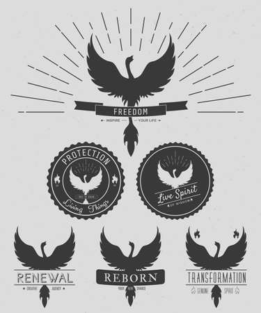 animal  bird: vector set of phoenix symbol vintage  logos, emblems, silhouettes and design elements. Symbolic and outdoor logos with grunge textures. Retro style. Vector