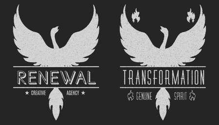 set van phoenix symbool vintage logo's, emblemen, silhouetten en design elementen. Symbolische en outdoor logo's met grunge texturen. Retro-stijl, grunge, gebruikt optische, oud. Vector