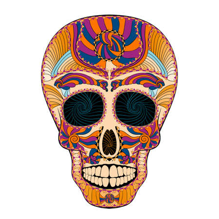 all souls' day: Dia de Muertos. Illustration of traditional Mexican skull with lots of hypnotic ornaments to the Day of The Dead. very colorful. contour. Vector Illustration