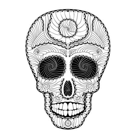 all souls' day: Dia de Muertos. Illustration of traditional Mexican skull with lots of hypnotic ornaments to the Day of The Dead. Black white colors. contour. Vector Illustration