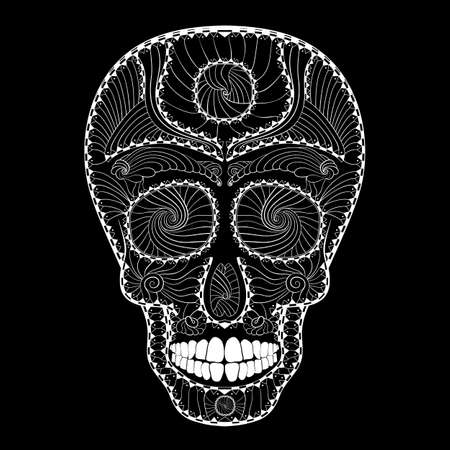 all saint day: Dia de Muertos. Illustration of traditional Mexican skull with lots of hypnotic ornaments to the Day of The Dead. Black white colors. contour. Vector Illustration