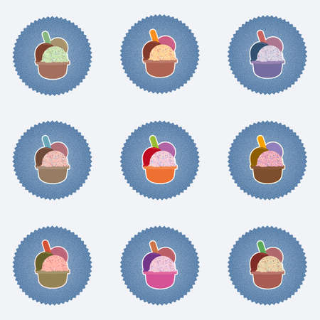hues: Set of Ice Cream in the cup sign icons with three balls and plastic spoon. Sweet dessert symbol. Realisitc illustrations with retro lables, used effect, in vary hues. web icons. Vector Illustration