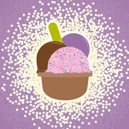 soft serve ice cream: Ice Cream in the cup sign with three balls, plastic spoon and splash effect. Sweet dessert symbol. Realisitc colorful illustration. Vector