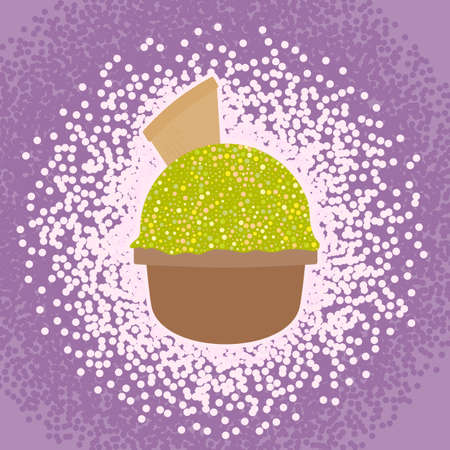 soft serve ice cream: Ice Cream in the cup sign with one ice ball, waffle. and splash effect. Sweet dessert symbol. Realisitc colorful illustration. Vector Illustration