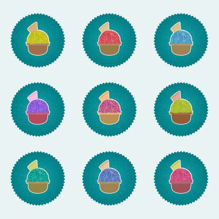 hues: Set of Ice Cream in the cup sign icons with one ice ball and waffle. Sweet dessert symbol. Realisitc illustrations with retro lables, used effect, in vary hues. web icons. Vector