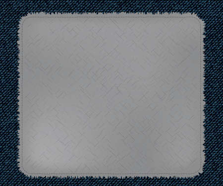 sew: a cool patchwork made on blue denim jeans texture. fashion template fancywork. realistic vintage and retro stuff. Textile canvas texture. Illustration