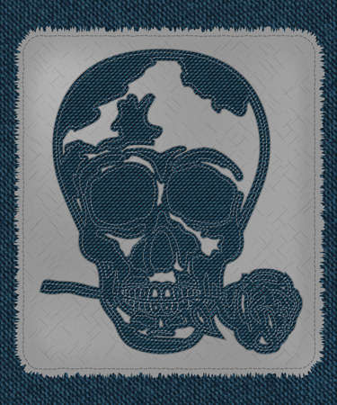 fancywork: a cool skull shape made on blue denim jeans texture. skull with rose in the mouth. fancywork. realistic vintage and retro material Illustration