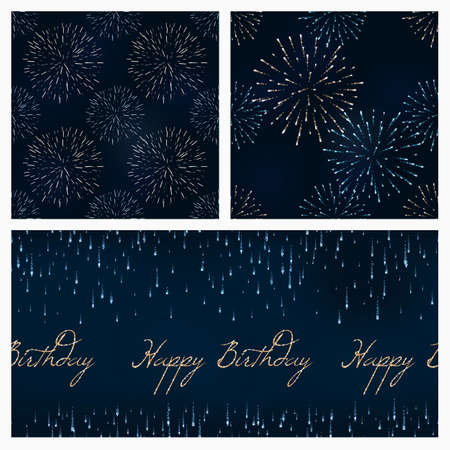 set of festive birthday firework seamless pattern bursting in various shapes sparkling against black background abstract vector isolated illustration. Birthday new year fete day flash.