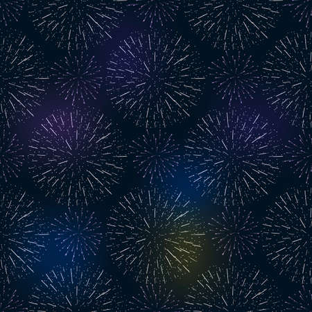 festive birthday firework seamless pattern bursting in various shapes sparkling against black background abstract vector isolated illustration. Birthday new year fete day flash. Векторная Иллюстрация