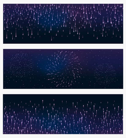 fete: set of 3 festive firework banner bursting in various shapes sparkling against black background abstract vector isolated illustration. Birthday new year fete day flash. Illustration