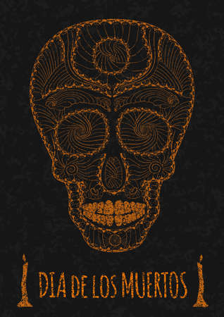 all souls' day: Dia de Muertos. Illustration of traditional Mexican skull with lots of hypnotic ornaments to the Day of The Dead on the stone texture. monochrome. contour. Flyer Template. Vector Illustration