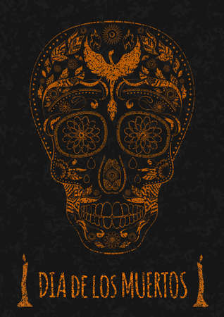 all souls day: Dia de Muertos. Illustration of traditional Mexican skull with lots of hypnotic ornaments to the Day of The Dead on the stone texture. monochrome. contour. Flyer Template. Vector Illustration