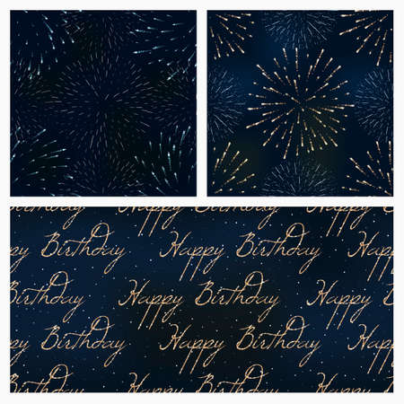 set of festive birthday firework seamless pattern bursting in various shapes sparkling against black background abstract vector isolated illustration. Birthday new year fete day flash. Иллюстрация