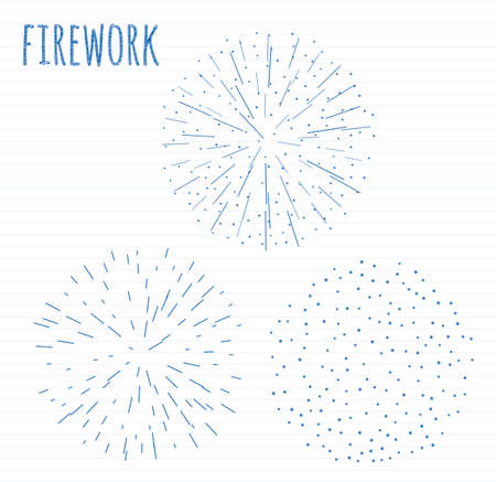 set of 3 scribble festive firework banner bursting in various sparkling shapes hand drawn sketch abstract vector isolated illustration. Birthday new year fete day flash. Иллюстрация