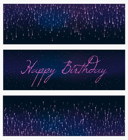 set of 3 festive firework banner bursting in various shapes sparkling against black background abstract vector isolated illustration. Birthday new year fete day flash. Векторная Иллюстрация