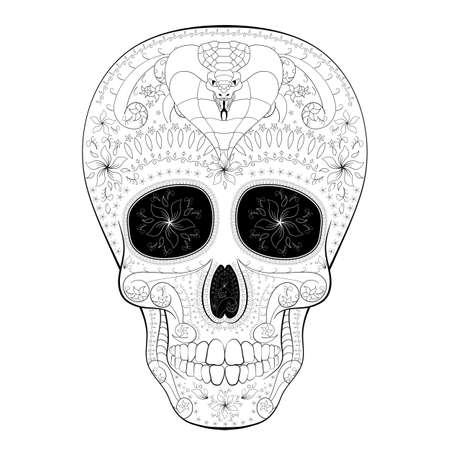 all saint day: Dia de Muertos. Illustration of traditional Mexican skull with lots of hypnotic ornaments and with cobra to the Day of The Dead. Black white colors. contour. Vector Illustration Illustration
