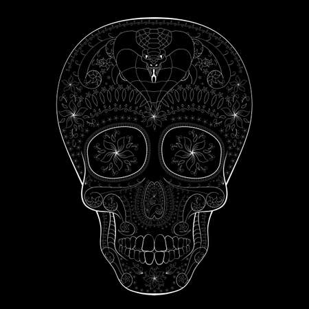 muertos: Dia de Muertos. Illustration of traditional Mexican skull with lots of hypnotic ornaments and with cobra to the Day of The Dead. Black white colors. contour. Vector Illustration Illustration