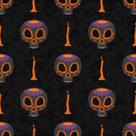all saint day: Dia de Muertos. Illustration of traditional Mexican skull with lots of ornaments and candles to the Day of The Dead. Colorful in orange and purple. contour. Seamless pattern. Vector Illustration