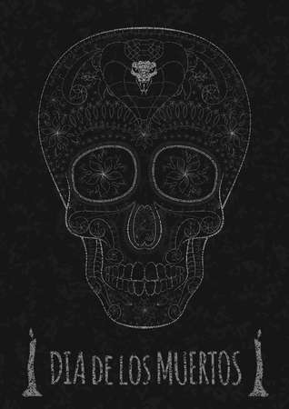 all souls' day: Dia de Muertos. Illustration of traditional Mexican skull with lots of hypnotic ornaments and cobra to the Day of The Dead on the stone texture. monochrome. contour. Flyer Template Vector Illustration Illustration