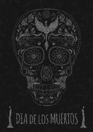 all souls' day: Dia de Muertos. Illustration of traditional Mexican skull with lots of hypnotic ornaments and phoenix Day of The Dead on the stone texture. monochrome. contour. Flyer Template. Vector Illustration
