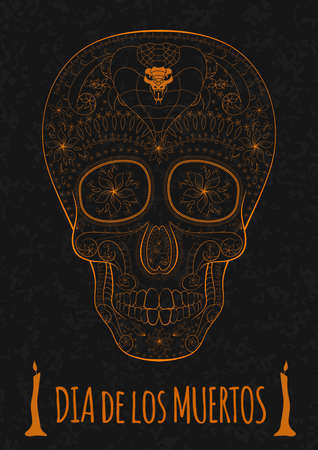 Dia de Muertos. Illustration of traditional Mexican skull with lots of hypnotic ornaments and cobra to the Day of The Dead on the stone texture. monochrome. contour. Flyer Template Vector Illustration Illustration