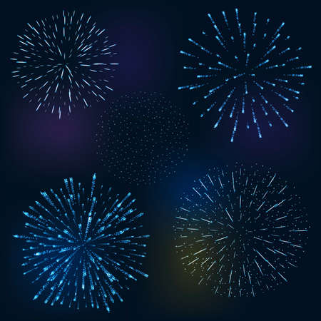 fete: set of 4 festive fireworks bursting in various shapes sparkling against black background abstract vector isolated illustration. Birthday new year fete day flash.