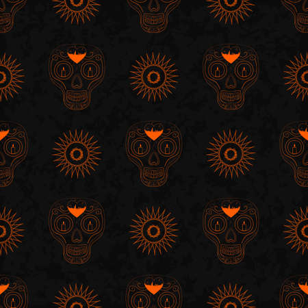 all saint day: Dia de Muertos. Illustration of traditional Mexican skull with lots of ornaments and candles to the Day of The Dead. Colorful in orange. contour. Seamless pattern. Vector Illustration