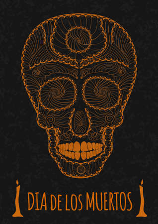 all saint day: Dia de Muertos. Illustration of traditional Mexican skull with lots of hypnotic ornaments to the Day of The Dead on the stone texture. monochrome. orange contour. Flyer Template Vector Illustration