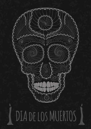 all souls day: Dia de Muertos. Illustration of traditional Mexican skull with lots of hypnotic ornaments to the Day of The Dead on the stone texture. monochrome. gray contour. Flyer Template Vector Illustration