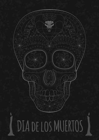 all saint day: Dia de Muertos. Illustration of traditional Mexican skull with lots of hypnotic ornaments and cobra to the Day of The Dead on the stone texture. monochrome. contour. Flyer Template Vector Illustration Illustration