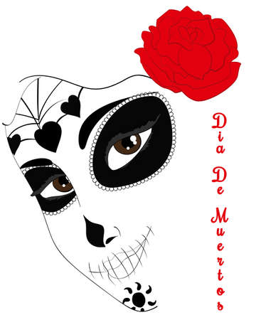 dia de los muertos: a beautiful abstract mask of sugar skull by a mexican woman with roses. Dia de los Muertos. Symbolic illustration for Day of the Dead. Perfect for posters, t-shirts, cards, print products.