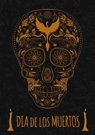 Dia de Muertos. Illustration of traditional Mexican skull with lots of hypnotic ornaments and phoenix to the Day of Dead on the stone texture. monochrome. contour. Flyer Template Vector Illustration