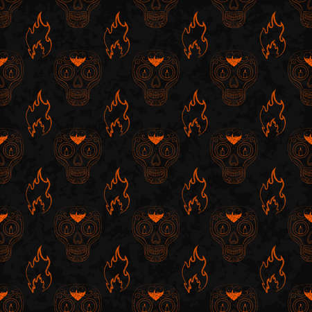 all souls' day: Dia de Muertos. Illustration of traditional Mexican skull with lots of ornaments and fire to the Day of The Dead. Colorful in orange contour. Seamless pattern. Vector Illustration