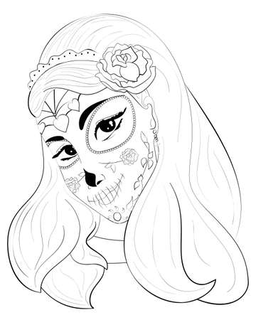 stored: a beautiful sugar skull woman in a death mask and with roses. outline design with stored white areas. Ready for dyeing. forDia de los Muertos. Illustration for Day of the Dead Illustration