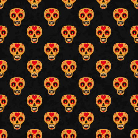 all saint day: Dia de Muertos. Illustration of traditional Mexican skull with lots of ornaments and hearts to the Day of The Dead. Colorful in orange. contour. Seamless pattern. Vector Illustration Illustration