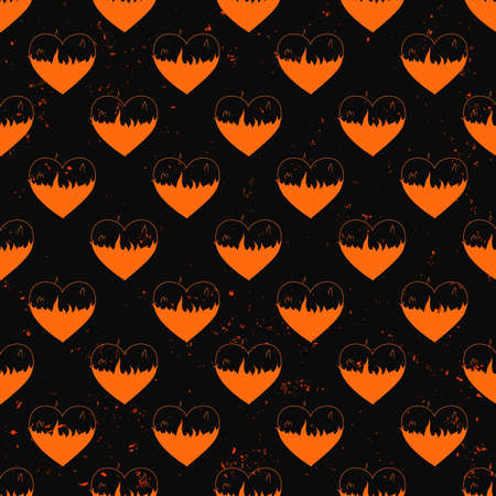 infernal: seamless pattern of hearts in flame painted on grunge cement wall background with flame sparks - love concept Abstract heart shapes with filled flame paths and unfilled outlines. Illustration