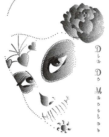 dia de los muertos: a beautiful abstract mask of sugar skull by a mexican woman with roses stipple. Dia de los Muertos. Symbolic illustration for Day of the Dead. Perfect for posters, t-shirts, cards, print products.