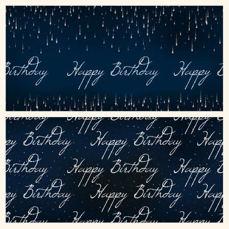 fete: set of festive birthday firework seamless pattern bursting in various shapes sparkling against black background abstract isolated illustration. Birthday new year fete day flash. Illustration
