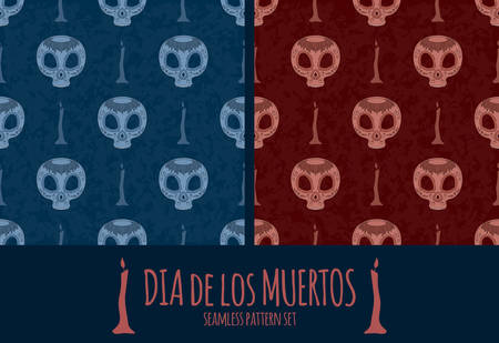 all saint day: Dia de Muertos. set of two illustration of traditional Mexican skull with lots of ornaments and candles to the Day of The Dead. Colorful in various colors. Seamless pattern. Illustration