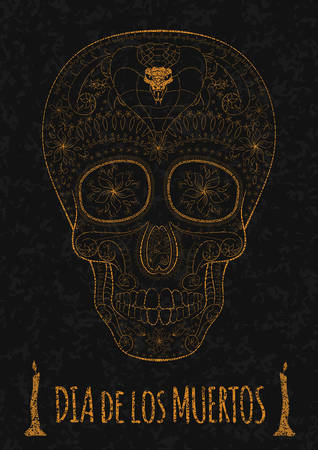 all saint day: Dia de Muertos. Illustration of traditional Mexican skull with lots of hypnotic ornaments to the Day of The Dead on the stone texture. monochrome. orange contour. Illustration