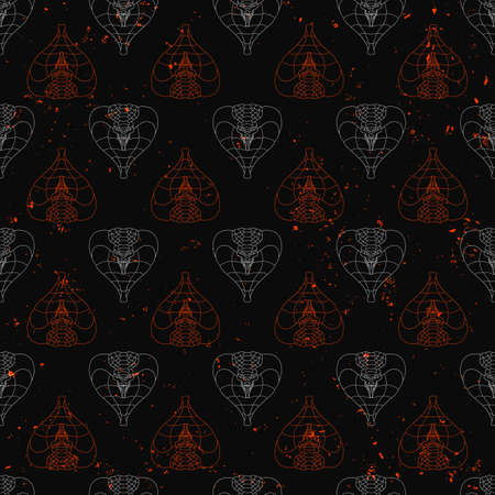 seamless pattern of abstract cobras painted on grunge stone wall background with flame sparks and ash. Abstract hunting snake shapes with unfilled outlines in gray and orange color.