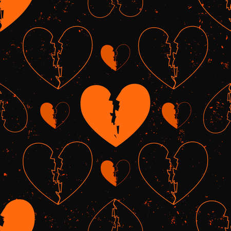 murky: seamless pattern of broken hearts painted on grunge cement wall background with flame sparks. A love concept of bstract heart shapes with filled path , in different sizes and unfilled outlines. Illustration