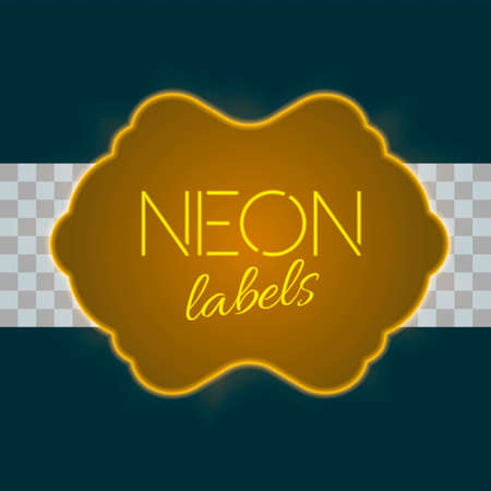 GLOD: Vintage electric frame with bright neon lights. Gold neon light with transparent glow. A part three of collection. Very colorfull vintage label in traditional old style design. Vector illustration Illustration