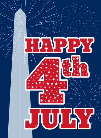 washington monument: Vintage card design for fourth of July Independence Day USA. Designed in traditional American flag colors, with Washington Monument and typical American type. Patriotic series, main celebration of USA