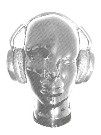 varying: Concept music. An abstract for man relaxing and listening music with headphones. Realistic art design of object with contour varying the width and shape. Artistic outline design. Monochrome