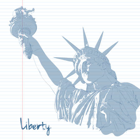 patriotic america: Scribble art design for fourth of July Independence Day USA with symbol of America: Statue of Liberty with ink and shadow effects. Patriotic series, main celebration of USA. Artistic painting Illustration